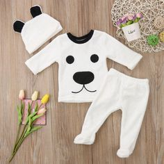 White Polar Bear Two Piece Pajamas With Matching Headband from kidspetite.com! Adorable & affordable baby, toddler & kids clothing. Shop from one of the best providers of children apparel at Kids Petite. FREE Worldwide Shipping to over 230+ countries ✈️ www.kidspetite.com #baby #infant #boy #clothing #pajamas #newborn Baby Outfits Newborn, Baby Girl Newborn, Baby Boy Outfits, Baby Girls, Outfits With Hats, Warm Outfits, Winter Outfits, Cartoon Outfits, Baby Boy Fashion