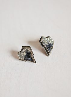"""Lady Grey  Mini Heart Earring    $143.00      (Heart-shaped earrings with two-tone, crushed pyrite stones and silver post. Approx. .75"""" wide.    Material: bronze and pyrite)"""