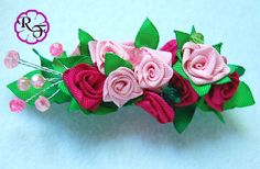 Kanzashi Flower pink ribbon roses french por RainOfFlowers
