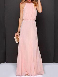 pink dress,pleated dress,chiffon dress,maxi dress