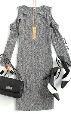Chic fall style-Grey marled knit frill trim open shoulder dress outfit.