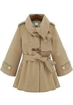 ++ Beige Belt Epaulet Long Sleeve Wool Coat
