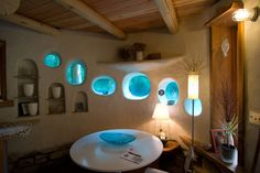 Stained glass in a cob house