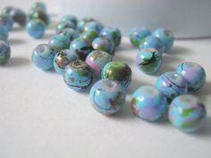 Skyblue Mottled Round Glass Beads 6mm - 50 pcs