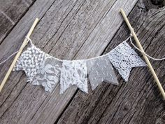 Lace wedding cake topper bunting banner by TheGlitteredBarn, $17.00