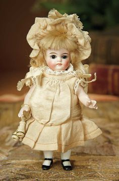 Bread and Roses - Auction - July 26, 2016: Lot #21 Dear German All-Bisque Miniature Doll by Kling with Original Costume and Opera Glasses