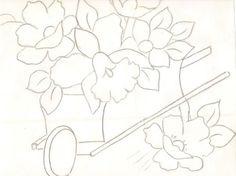 risco pintura em tecido  carrinho de flores