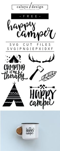 Free Happy Camper SVG, PNG, EPS & DXF by Caluya Design. Compatible with Cameo Silhouette, Cricut and other major cutting machines!Perfect for your DIY projects, Giveaway and personalized gift. Plotter Silhouette Cameo, Silhouette Cameo Projects, Silhouette Cameo Files, Silhouette Machine, Diy Craft Projects, Diy Crafts, Craft Ideas, Diy Ideas, Wine Bottle Crafts
