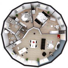 maison ossature bois ronde plan 3d 15 pans plain pied #DecoracionCasas