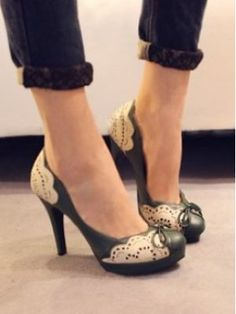 New Vogue Lady Carved Flower Multi-colroed Pump