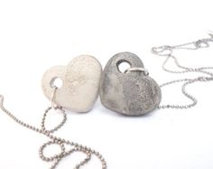 Concrete circle on long silver necklace Round by shooohsJewelry