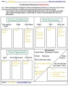 5th Grade Career Portfolio Project Graphic Organizer Printable and ...