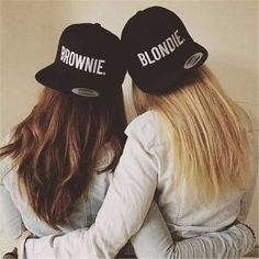 Retro Styles Blondie brownie SnapBack hat - super cool blondie brownie SnapBack hat embroidery style text choose from blondie or brownie or pair up with your bff or sister for a cute gift idea! Best Friend Pictures, Bff Pictures, Friend Photos, Bff Pics, Best Friend Fotos, Best Friend Outfits, Best Friend Stuff, Best Friend Halloween Costumes, Shooting Photo Amis