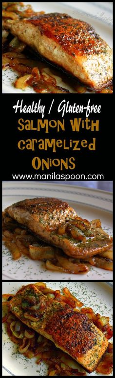 This super EASY recipe is so delicious that even kids love it! The caramelized onions are sweet and add so much flavor to the fish - SALMON ON A BED OF CARAMELIZED ONIONS. Perfect for a Meatless Easter celebration! paleo dinner for kids