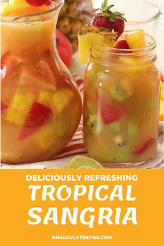 Summer Drink Recipes, Sangria Recipes, Punch Recipes, Summer Drinks, Cocktail Drinks, Tropical Sangria Recipe, Tropical Drink Recipes, Summer Sangria, Fruity Cocktails