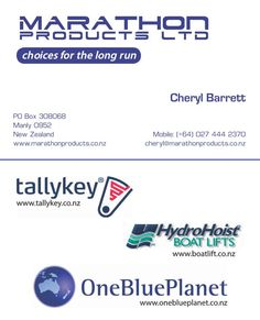 Niche water sports business card layout. Font Eurostile.