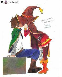 "538 Likes, 2 Comments - ArtForGeeks   AmongGeeks (@artforgeeks) on Instagram: ""Kazuma × Megumin - Kono Subarashii Sekai ni Syukufuku wo! . Color by @yuuka.art Sketch & Line Art…"""
