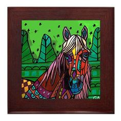 50% OFF Framed Horse Art Ceramic Tile by by HeatherGallerArt