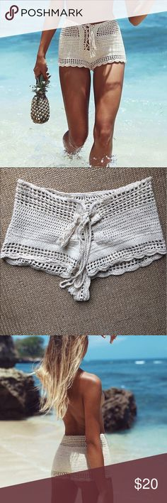 Andi Bagus crochet shorts Cream colored crochet andi bagus shorts. Worn once to the beach (picture attached of me in them!) really cute and stretchy so would fit small or xsmall. Andi Bagus Shorts Skorts