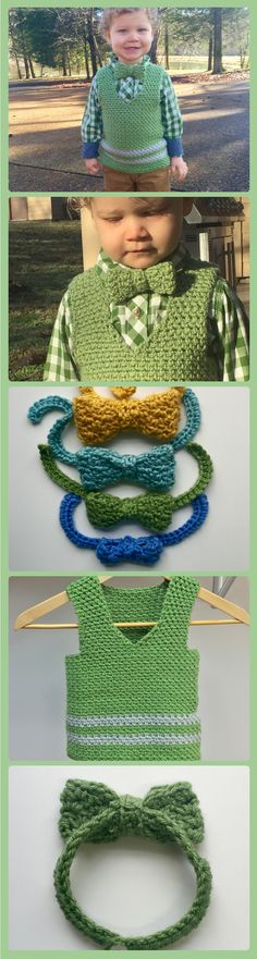 So sweet!! Your little one will look so adorable all dressed up in a Sweet Pea Vest and fun bow tie! Crochet pattern for baby vest - baby bow tie crochet pattern. Perfect wedding crochet patterns!
