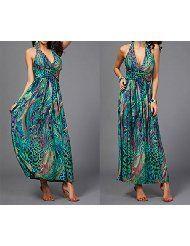 d9a9e1dd5ff ... China dress up girls dresses Suppliers  Milk Silk Chiffon Dresses Slim  Waist Halter V-neck Peacock Printing Colorful Bohemia Sleeveless Long Beach  Dress
