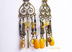 dreamcatcher mustard yellow long earrings dangle by chezviolette