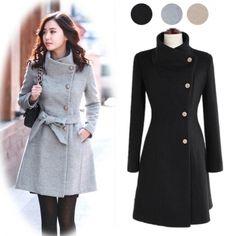 Women's Collect Waist Worsted Coat Long Sleeve Tweed Winter Coat Jacket