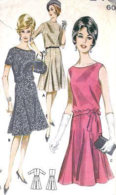 1960s Misses Flared Skirt Dress Cocktail Dress
