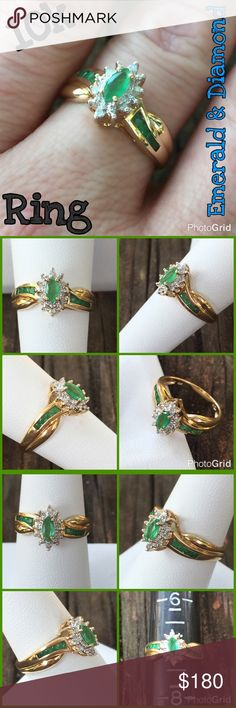 10k Gold Emerald & Diamond Ring Beautiful 10k Yellow Gold Emerald & Diamond Ring. Marked 10k R w/ cursive L. Size 7, sizable. Weight 3.07 grams. I believe Emeralds are natural but I'm not an expert. The ring is in great pre-owned condition, ready to wear! Great everyday wear. Would also make a great gift for someone special! Thanks 4 looking. I ship same day. Please ask all ?'s b4 purchase. Buy w/ confidence 362 5 star feedback. Please make REASONABLE offer using the offer feature only, no…