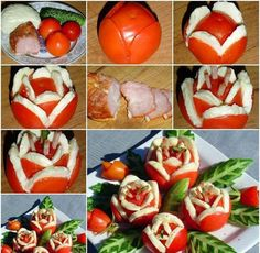 DIY Yummy Tomato and Cheese Flowers Salad Salad Decoration Ideas, Food Decorations, Tomato Dishes, Roasted Onions, Cold Dishes, Fruit And Vegetable Carving, Tomato And Cheese, Food Humor, Creative Food