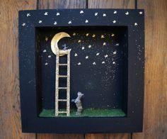 Diorama frame little mouse on the moon par MoonAndWoodShop sur Etsy, €50.00