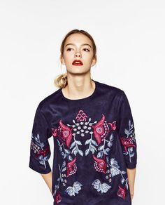 Image 2 of EMBROIDERED SUEDE EFFECT BLOUSE from Zara