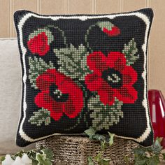 'Poppy Posy' Cross Stitch Cushion Kit by Twilleys of Stamford.