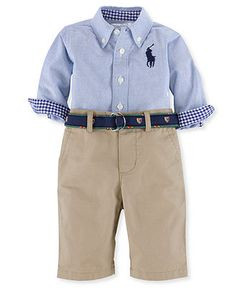 Ralph Lauren Baby Set, Baby Boys 2-Piece Oxford Shirt and Pants - Kids Baby Boy (0-24 months) - Macy's