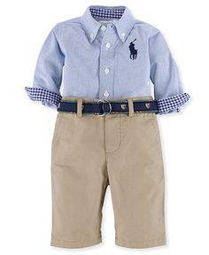 Ralph Lauren Baby Set, Baby Boys 2-Piece Oxford Shirt and Pants - Kids Baby Boy (0-24 months) - Macy's