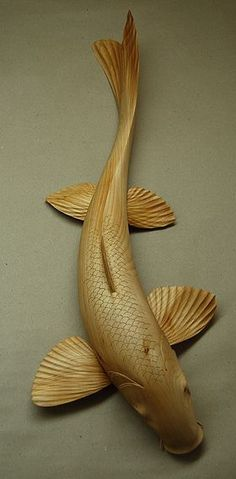 I really… Koi Carp. I really like the action in this fish carving. Art Sculpture En Bois, Fish Sculpture, Sculpture Rodin, Abstract Sculpture, Bronze Sculpture, Koi Art, Fish Art, Wooden Fish, Wooden Art
