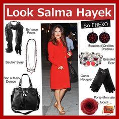 Look Rouge et Noir - so Frexo - Look Chic et Tendance -   Tous les accessoires : écharpe,sautoir, sac à main, boucle d'oreilles, bracelets, gants et porte-monnaie à shopper sur www.frexo.fr