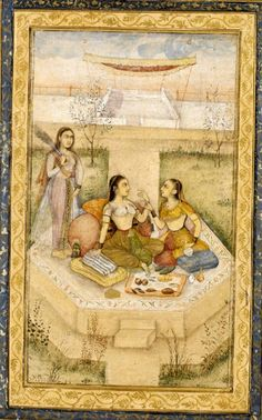 ladies seated in garden, opaque watercolour and gold on paper, Mughal, ca. 1700. Trimmed