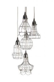 Image of Silver Wire Five Pendant Light. Capecoddesigns