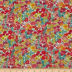 Liberty of London Tana Lawn Margaret Annie Multi from @fabricdotcom  From the world famous Liberty Of London, this exquisite cotton lawn fabric is finely woven, light weight and ultra soft. This gorgeous fabric is oh so perfect for flirty blouses, dresses, lingerie, tunics, tops and more. Colors include hot pink, white, orange, lime, jade, teal and coral pink.