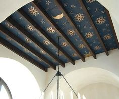 Beautiful Boho :: Statement Mural Walls - boho bohemian nature colorful mural painted painting walls wallpaper eclectic vintage oriental middle-eastern design decor inspiration ideas - navy-blue-gold-star-ceiling-bohemian-interior-design - Home Decor Tiny Homes, New Homes, Star Ceiling, Ceiling Art, Ceiling Tiles, House Ceiling, Porch Ceiling, Ceiling Lights, Wallpaper Ceiling