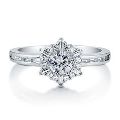 Enter #BerriclePinToWin for a $500 Shopping Spree! Check details here woobox.com/m7no9s Round Cut Cubic Zirconia CZ 925 Sterling Silver Snowflake Fashion Ring from Berricle.com