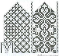 Knitting Charts, Knitting Stitches, Knitting Patterns, Knitted Mittens Pattern, Knit Mittens, Mosaic Patterns, Loom Patterns, Crochet Chart, Knit Or Crochet