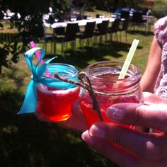 Cute welcome drinks suitable for children and grownups at a party.