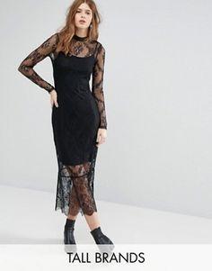 Vero Moda Tall Lace Long Sleeve Midi Dress