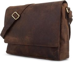 629af41e8c LEABAGS - Unisex Leather Satchel Flapover Shoulder Bag