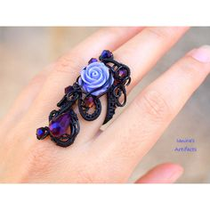 Goth ring/Wire wrapped ring/Statement ring/Victorian adjustable... ($17) ❤ liked on Polyvore featuring jewelry, rings, cocktail ring, goth rings, victorian ring, victorian jewelry and purple cocktail ring