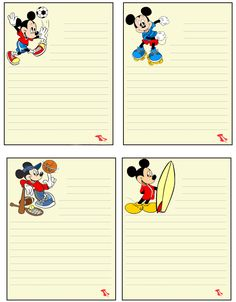 Mickey Mouse Notes Printable Lined Paper, Free Printable Stationery, Disney Scrapbook, My Scrapbook, Boarder Designs, Smash Book Pages, Circle Logo Design, Mickey And Friends, Writing Paper