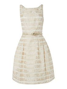 Fit and flare stripe jacquard dress
