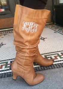 Monogrammed WIDE CALF Boots!!  $58.99.  Going fast, only a few left!!  ~  105 West Boutique, Abbeville SC.  (864) 366-WEST.  Look for us on Facebook!